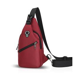 FANDARE Sling Bag Rucksack Umhängetasche Brusttasche Messenger Bag Schultertasche Hiking Bag Daypack Crossbody Bag Chest Pack Sports Reisetasche Polyester Rot von FANDARE