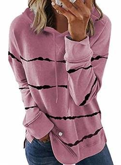 FANGJIN Color Block Damen Pullover Winter Long Strick Sweater Warmer Moderne Women T Shirt Snipes Hoodie Mäntel Frauen Sweatblazer Damen Rosa L von FANGJIN