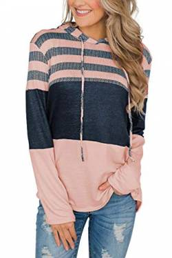 FANGJIN Color Block Damen Pullover Winter Long Strick Sweater Warmer Moderne Women T Shirts Snipes Hoodie Mäntel Frauen Sweatblazer Jacke Damen Rosa L von FANGJIN