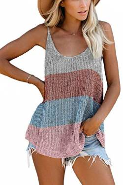 FANGJIN Soft and Comfy Knitted Sleeveless Tops Embroidered Tricolor Summer Clearance Ladies Blouses and Tops Spaghetti Straps stylish Camisole Tank Tops Stripe Brown L von FANGJIN
