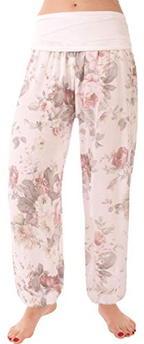 FASHION YOU WANT Damen Pumphose Sommerhose Haremshose mit Rosen Muster (38/40, weiß) von FASHION YOU WANT