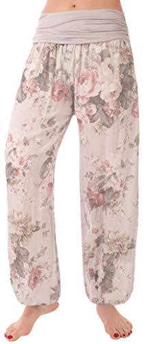 FASHION YOU WANT Damen Pumphose Sommerhose Haremshose mit Rosen Muster (42/44, grau) von FASHION YOU WANT
