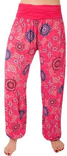 FASHION YOU WANT Damen Pumphose Sommerhose Haremshose mit Rosen Muster Größe 34/36 bis Größe 48/50 verfügbar Leichte Haremshose (40/42, NB pink) von FASHION YOU WANT