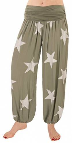 FASHION YOU WANT Damen Pumphose Sommerhose Haremshose mit Sternen (48/50, kharki) von FASHION YOU WANT