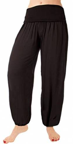 FASHION YOU WANT Damen Sommerhose Pumphose Haremshose Uni Farben (48/50, schwarz) von FASHION YOU WANT