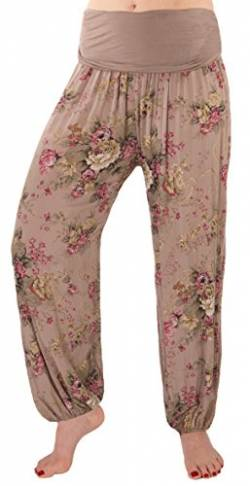 FASHION YOU WANT Damen Sommerhose Pumphose Haremshose mit Blumenmuster Flower (36/38, Schlamm) von FASHION YOU WANT
