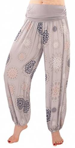 FASHION YOU WANT Damen Sommerhose Pumphose Haremshose mit Blumenmuster Flower (40/42, grau) von FASHION YOU WANT