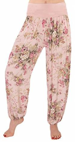 FASHION YOU WANT Damen Sommerhose Pumphose Haremshose mit Blumenmuster Flower (40/42, rosa) von FASHION YOU WANT