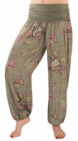FASHION YOU WANT Damen Sommerhose Pumphose Haremshose mit Blumenmuster Flower (48/50, kharki) von FASHION YOU WANT