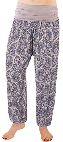 FASHION YOU WANT Damen Sommerhose Pumphose Haremshose mit kleinem Bandanamuster (36/38, hellgrau) von FASHION YOU WANT