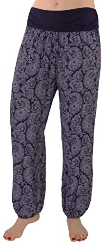 FASHION YOU WANT Damen Sommerhose Pumphose Haremshose mit kleinem Bandanamuster (46/48, dunkelblau) von FASHION YOU WANT