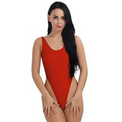 FEESHOW Damen Dessous Stringbody High Cut Rückenfrei Sexy Einteiler Bodysuit Thong Leotard Bikini Badeanzug Bademode Sommer Schwarz/Rot/Himmelblau/Weiß Rot XXL von FEESHOW