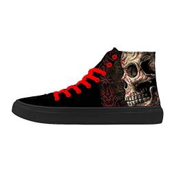 FIRST DANCE Skull Shoes for Men Fashion Sneaker High Top Skull Punk Rock Joker Print Shoes Black Shoes for Man Cool US11.5 von FIRST DANCE
