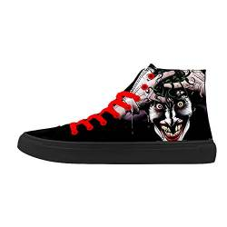 FIRST DANCE Skull Shoes for Men Fashion Sneaker High Top Skull Punk Rock Joker Print Shoes Black Shoes for Man Cool US7 von FIRST DANCE