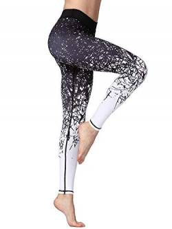 FLYILY Damen Sport Leggings Printed Fitness Tights Hosen für Laufen Yoga Workout von FLYILY