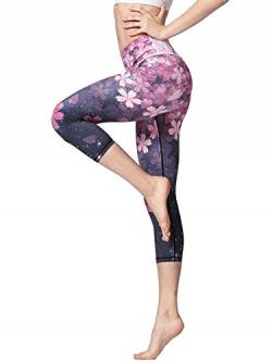 FLYILY Sporthose Damen Capri YogaHosen für Damen Elastische Tummy Control Yogahose Training Tights Yoga Hosen 3/4 Sporthose Laufhose(Cherry,XL) von FLYILY