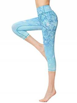 FLYILY Sporthose Damen Capri YogaHosen für Damen Elastische Tummy Control Yogahose Training Tights Yoga Hosen 3/4 Sporthose Laufhose(LightBlue,L) von FLYILY