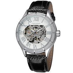 FORSINING Men's Automatic Self-Wind Skeleton Analogue Dial Leather Strap Watch FSG8085M3S2 von FORSINING
