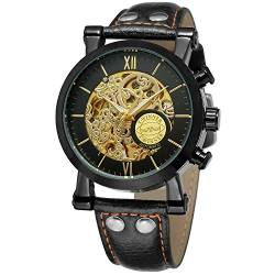FORSINING Men's Stylish Skeleton Automatic Mechanical Leather Strap Analog Watch WRG8122M3B1 von FORSINING