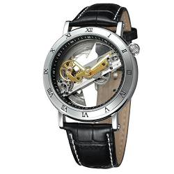 FORSINING Men's Unique Luxury Automatic Movement Leather Strap Skeleton Analog Watch FSG9418M3S1 von FORSINING