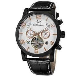 Forsining Men's Automatic Movement Analog Tourbillon Luxury Watch with Leather Strap FSG165M3B1 von FORSINING