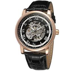Forsining Casual Men's Skeleton Alloy Case Leather Strap Automatic Mechanical Wrist Watch WRG8051M3R5 von FORSINING