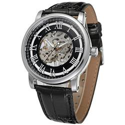 Forsining Casual Men's Skeleton Alloy Case Leather Strap Automatic Mechanical Wrist Watch WRG8051M3S1 von FORSINING