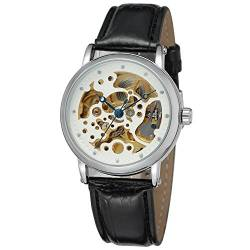 FORSINING Men's Automatic Skeleton Leather Strap Analog Watch with Clear Stone WRG8110M3S1 von FORSINING