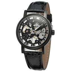 Forsining Men's Mechanical Hand-Wind Skeleton Leather Wrist Watch WRG8005M3B2 von FORSINING