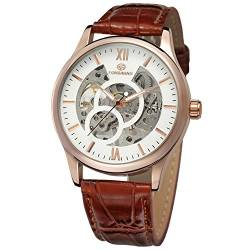FORSINING Men's Fashion Mechanical Hand-Wind Skeleton Analog Watch with Leather Strap FSG8094M3R3 von FORSINING