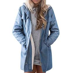 FRAUIT Damen Denim-Jacke Lange Jean Fleece Kurz Mantel Outwear Lange Trenchcoat Schlank Winterjacke Revers Steppmantel Slim Fit Mode Taschen Casual Langarm Fleecejacken Top Outwear Bluse von FRAUIT