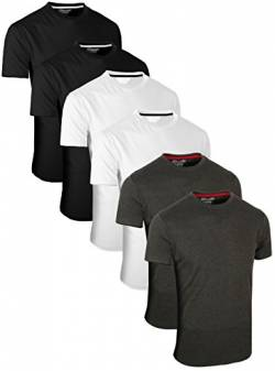 FULL TIME SPORTS 6 Pack Kohle Weiß Schwarz Rundhals Tech T-Shirts (2) XXX-Large von FULL TIME SPORTS