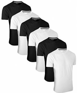 FULL TIME SPORTS 6 Pack Weiß Schwarz Rundhals Tech T-Shirts (3) XXX-Large von FULL TIME SPORTS