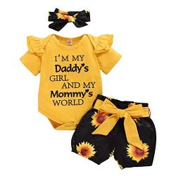 Baby Mädchen Sommer Outfit I'm My Daddy's Girl And My Mommy's World Kurzarm Rüschen Body Strampler + Blumen Drucken Shorts + Stirnband 3tlg Prinzessin Geburtstag Party Bekleidungsset 0-3 Monate von FYMNSI
