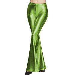 FYMNSI Damen Metallic Glänz Schlaghose Weite Bein Palazzo Hosen Hoher Bund Boot Cut Glitzer Lange Hose Schlanke Leggins Einfarbig Wet Look Stretch Leggings Tanzhosen Party Disco Clubwear Grün S von FYMNSI