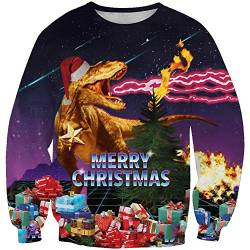 Christmas Sweatshirt Christmas Hoodie Pullover for Men and Women 3D Christmas Prints for Various Holidays and Party,A,XXXL von FYN