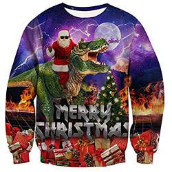 Christmas Sweatshirt Christmas Hoodie Pullover for Men and Women 3D Christmas Prints for Various Holidays and Party,D,XL von FYN