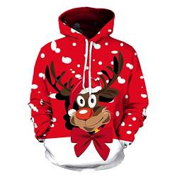 Christmas Sweatshirt Christmas Hoodie Pullover for Men and Women 3D Christmas Prints for Various Holidays and Party,XL von FYN