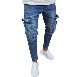 Fannyfuny Mode Herren Destroyed Jeans-Hose mit Taschen Reißverschluss Herren Slim Fit Jeans Denim Used Look Mit Destroyed-Optik Teen Jungen Party Kleidung Hellblau S-XXXXL von Fannyfuny Hose