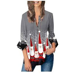 Fannyfuny Weihnachtsbluse Damen Langarm Weihnachten T_Shirt Pullover Bluse Tops Frauen Casual Warm Weihnachtsmann Print Shirt Lady Fashion Tops Fashion Regular Solid Plus Größe Langarmshirt Oberteile von Fannyfuny