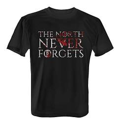 Fashionalarm Herren T-Shirt - The North Never Forgets | Fan Shirt mit Motto Spruch als Geschenk Idee zur GoT Serie & Buchreihe, Farbe:schwarz;Größe:5XL von Fashionalarm