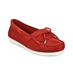 Five Tribe Damen Mokassin-Slipper aus Wildleder, Rot (Rotes Wildleder), 38 EU von Five Tribe