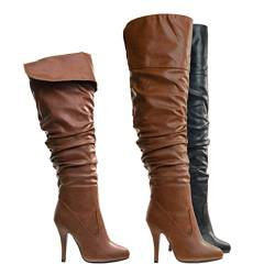 Forever Link Focus-33 Women's Fashion Stylish Pull On Over Knee High Sexy Boots von Forever