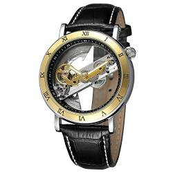 FORSINING Men's Unique Luxury Automatic Movement Leather Strap Skeleton Analog Watch FSG9418M3T1 von FORSINING