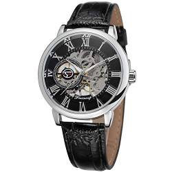 FORSINING Men's Mechanical Hand-Wind Skeleton Analogue Leather Strap Watch FSG8099M3S2 von FORSINING