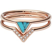 Damen Fossil Triangle Turquoise Fashion Ring Size S Edelstahl JF02645791510 von Fossil Jewellery