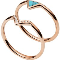Damen Fossil Triangle Turquoise Kristall Fashion Ring Size M.5 Edelstahl JF02645791505 von Fossil Jewellery