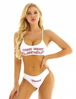 Freebily Damen Bikini Set Anime Cosplay Kostüme Bademode Brief Drucken Dessous Set Mini Leibchen BH Crop Tops mit Slips Unterwäsche Set Weiß Small von Freebily