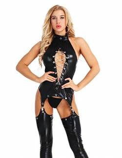 Freebily Damen Body Wetlook Dessous-Set Ouvert Catsuit Domina Outfit Gogo Clubwear Lack-Optik Jumpsuit Kette BH Brust Bodysuit Clubwear mit G-String Schwarz Large von Freebily