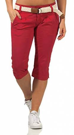 Fresh Made Damen Capri Chino Shorts LFM-154 3/4-Hose mit Gürtel Jalapeno red M von Fresh Made